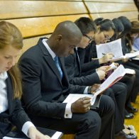 students wait for a job interview