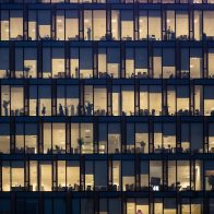 busy office building at night